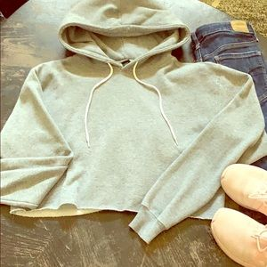 Grey soft cropped hoodie size M